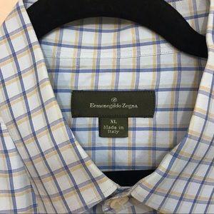 Ermenegildo Zegna Men's Plaid Dress Shirt Blue